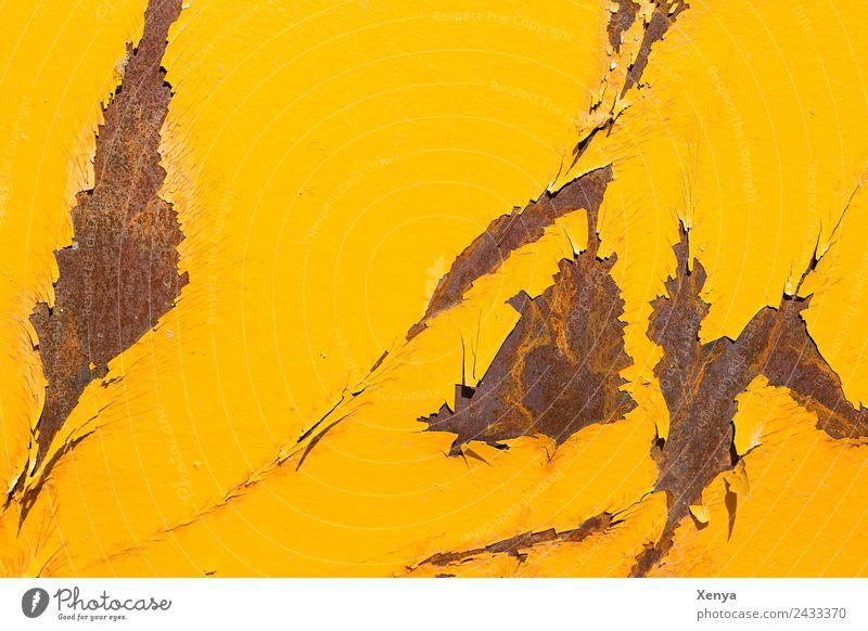 Gelber Rost Mauer Wand Metall Stahl kaputt braun gelb Hintergrundbild Lack abblättern Farbfoto Außenaufnahme abstrakt Strukturen & Formen Menschenleer Tag Licht