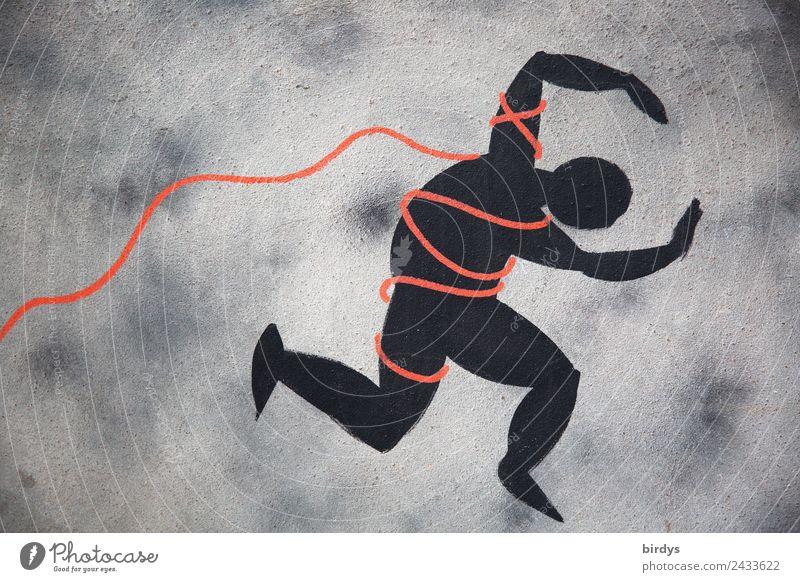 Entfesselung ... Mensch rot schwarz Graffiti Kunst grau frei Kraft Erfolg bedrohlich Schnur Zeichen Seil Todesangst Wut Partnerschaft