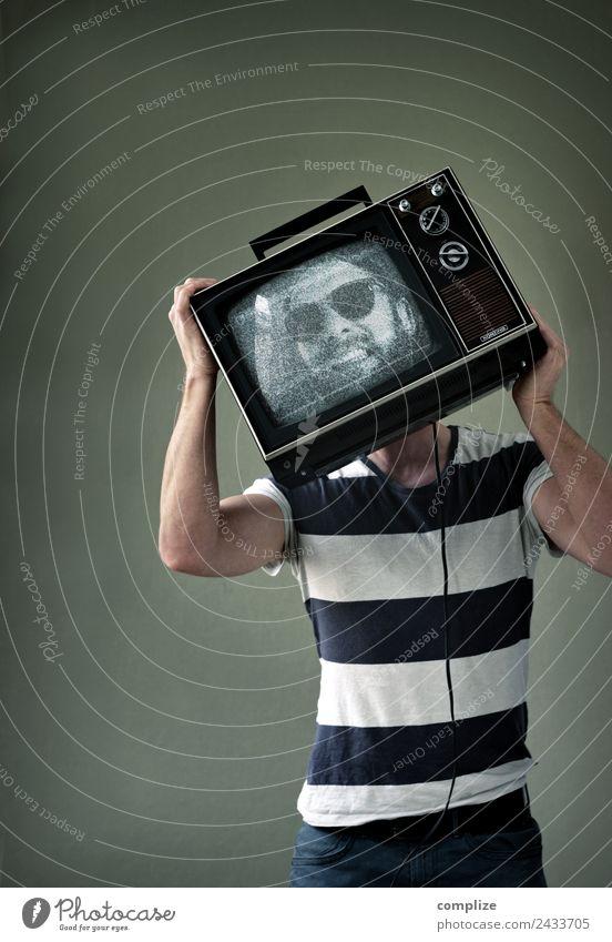 Der Fernseh-Mann Lifestyle Freude Gesundheit Freizeit & Hobby Entertainment sprechen Fernseher Notebook Bildschirm Technik & Technologie Unterhaltungselektronik