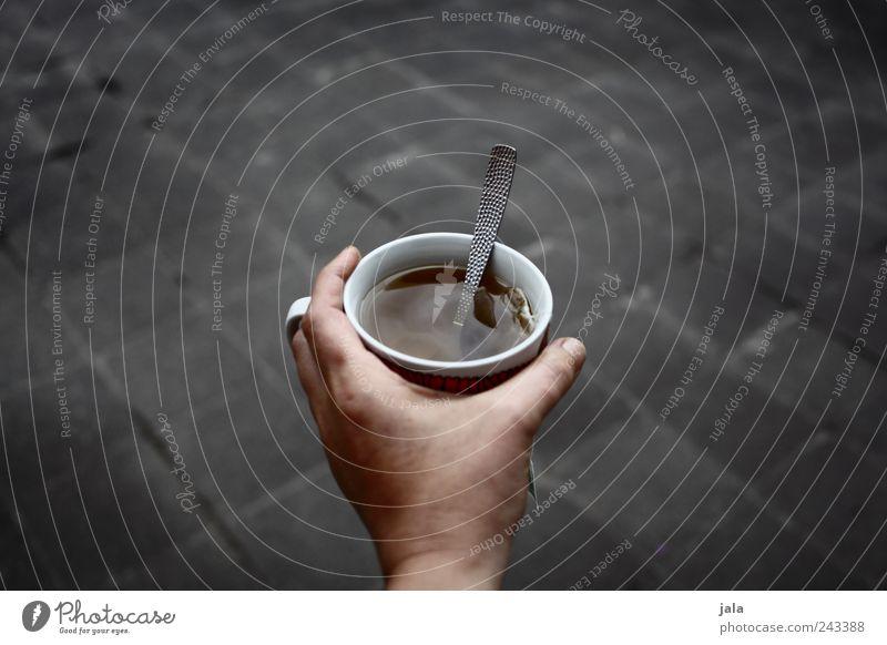 tee Hand Getränk trinken gut Tee Tasse Löffel haltend Heißgetränk
