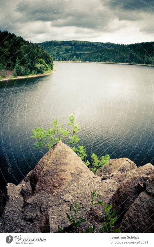 Bleilochtalsperre Natur Wasser Himmel Wolken Wald Hügel Seeufer Fluss saalburg-ebersdorf blau braun grün Felsen Stein Tiefenschärfe dunkel Thüringen Aussicht