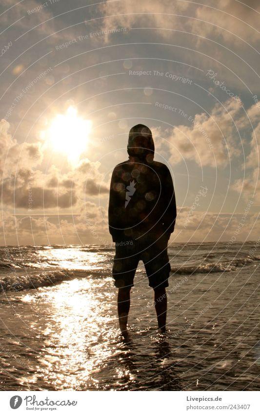 Ringo Mann blau Wasser Sonne Wolken schwarz Erwachsene Landschaft gelb Küste grau Horizont maskulin Nordsee Mensch