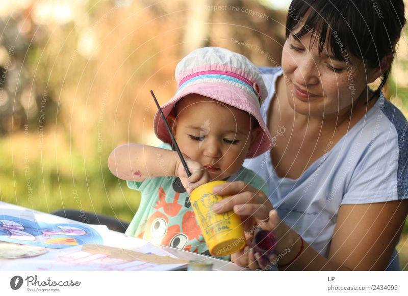 Frau Kind Mensch Freude Erwachsene Lifestyle Leben Gefühle feminin Familie & Verwandtschaft Spielen Freizeit & Hobby Kindheit Baby Neugier Mutter