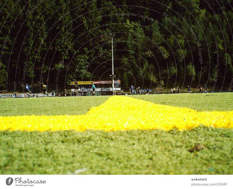 Mittellinie grün gelb Sport Linie Fußball Rasen Sportplatz Kunstrasen Mittellinie