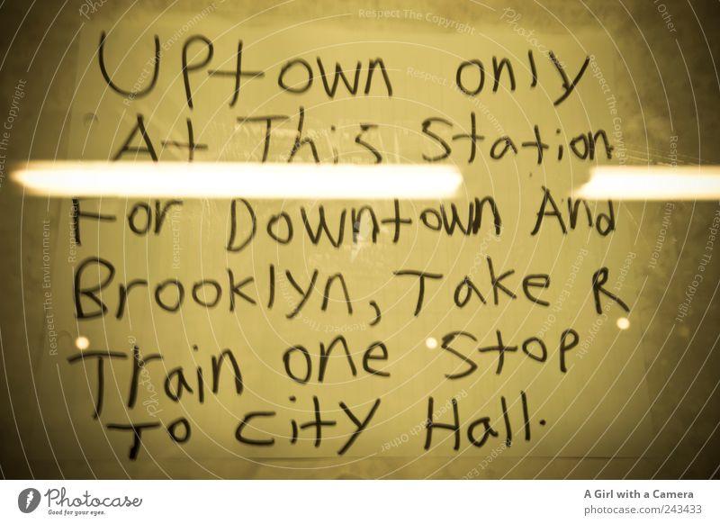 no way to Brooklyn Stadt gelb Glas Schilder & Markierungen Coolness trist authentisch Information U-Bahn Amerika trashig Neonlicht New York City Interpretation