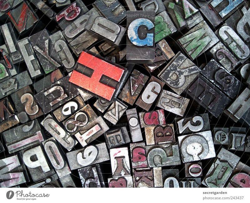 ich kaufe ein H! Freizeit & Hobby Spielen Bildung Sammlung Schriftzeichen alt historisch klein retro trashig blau grau rot Kreativität Wissen sortieren