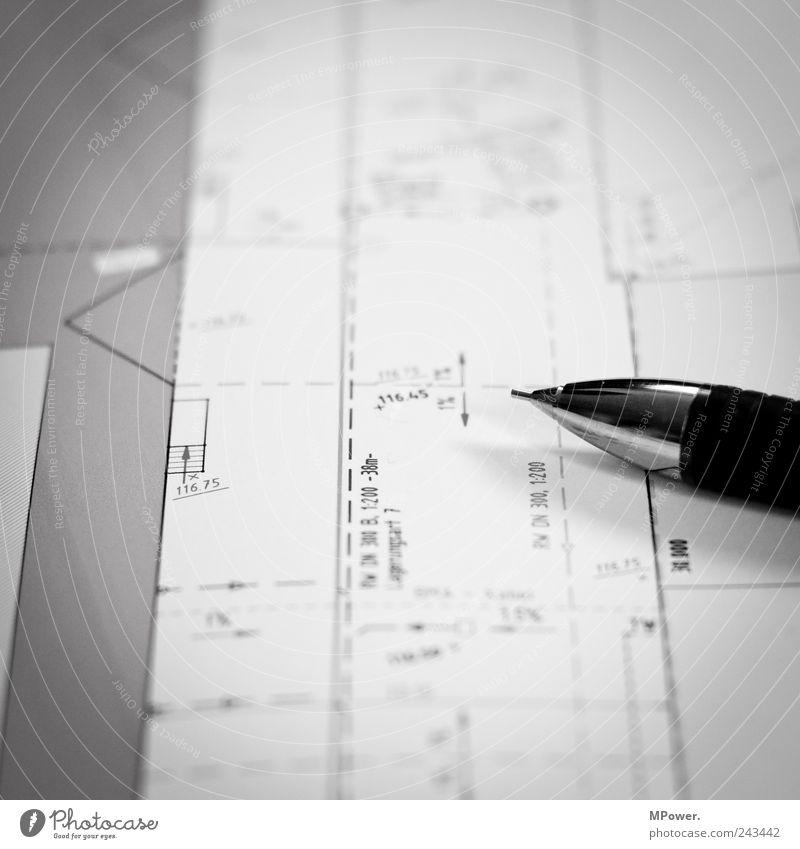 Bauplan lernen Arbeit & Erwerbstätigkeit Handwerker Büroarbeit Baustelle Business Unternehmen einzigartig schwarz weiß Beratung Schreibstift Bleistift Linie