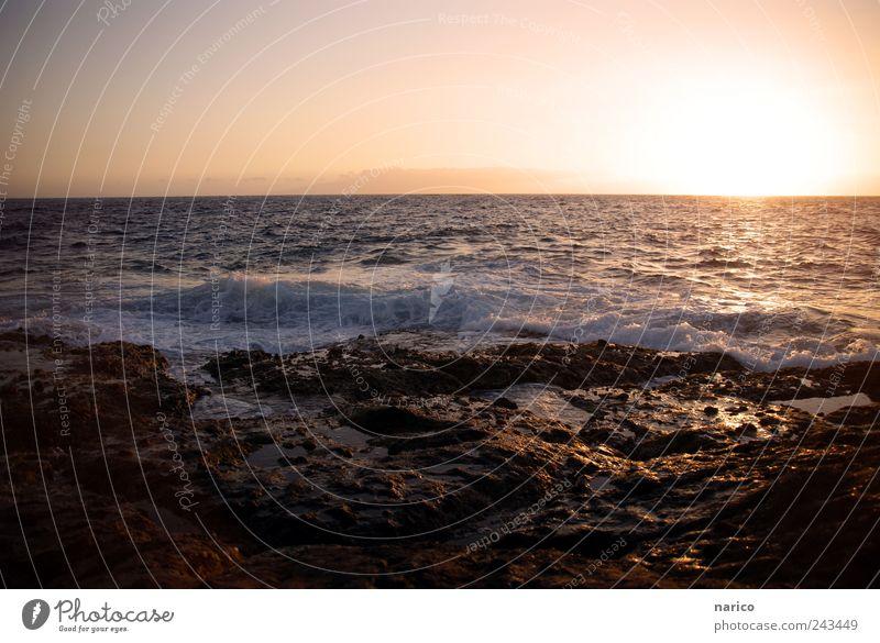 tenerife sunset Natur Wasser Ferien & Urlaub & Reisen schön Sommer Sonne ruhig Landschaft Ferne Umwelt Stein Luft träumen Horizont Felsen Stimmung