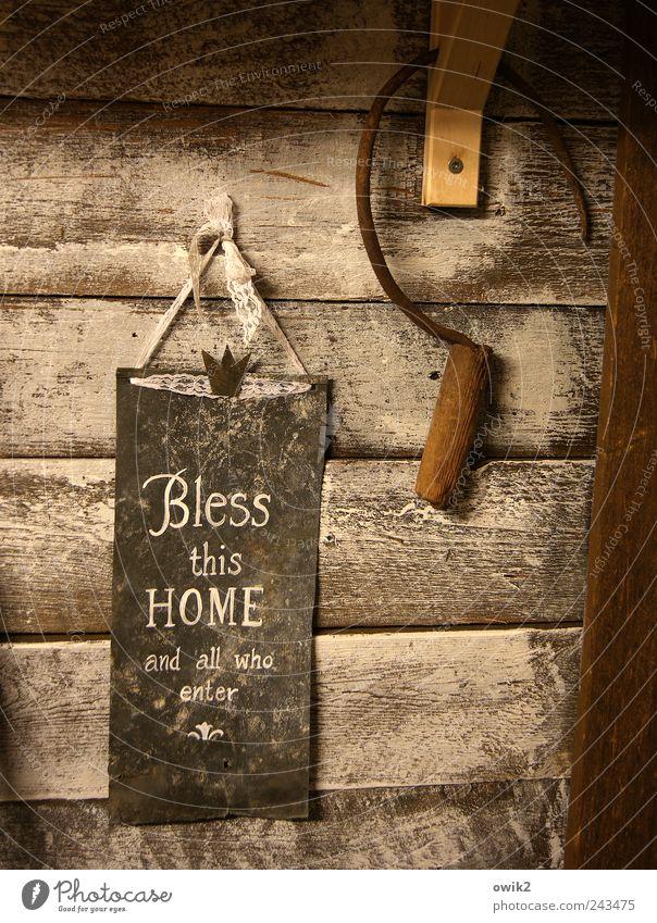 Segenswunsch alt Holz Religion & Glaube Metall Kunst Design Schilder & Markierungen Hoffnung ästhetisch Schriftzeichen einfach Wunsch Spitze Zeichen historisch