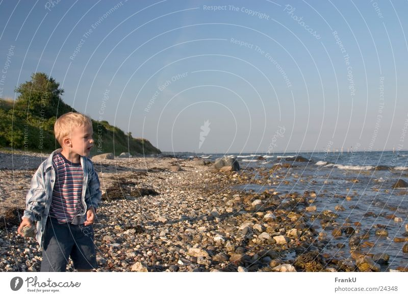 Kind am Strand Mann Natur Wasser Meer Sommer Junge Ostsee Abenddämmerung