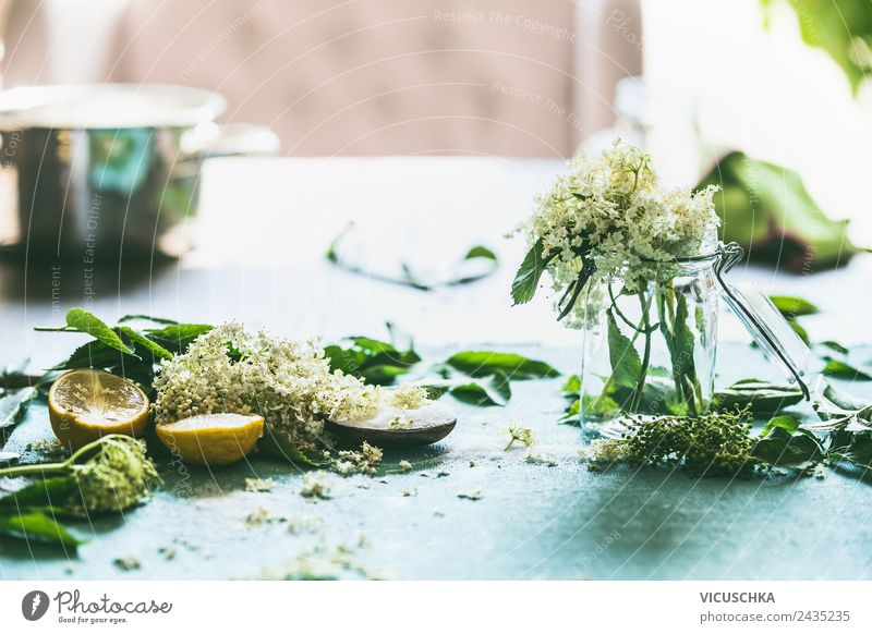 Holunderblüten mit Zucker und Zitrone auf dem Tisch Lebensmittel Marmelade Ernährung Bioprodukte Vegetarische Ernährung Diät Geschirr Topf Glas Lifestyle Stil