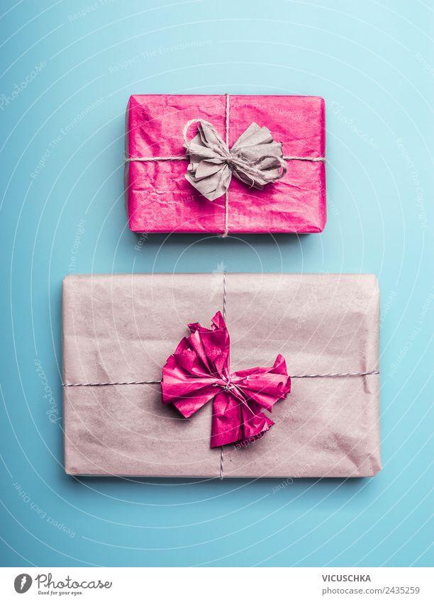 Verpackte Geschenke kaufen Stil Design Dekoration & Verzierung Feste & Feiern Liebe blau rosa türkis verpackt Verpackung Kraftpapier Farbfoto Studioaufnahme
