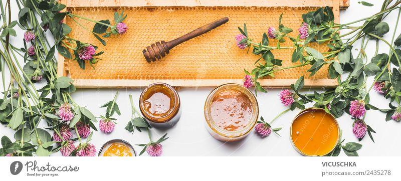 Wildblumen Honig mit Honigwabe Natur Gesunde Ernährung Blume Foodfotografie gelb Gesundheit Gesundheitswesen Stil Lebensmittel Design Glas Tisch Fahne Geschirr
