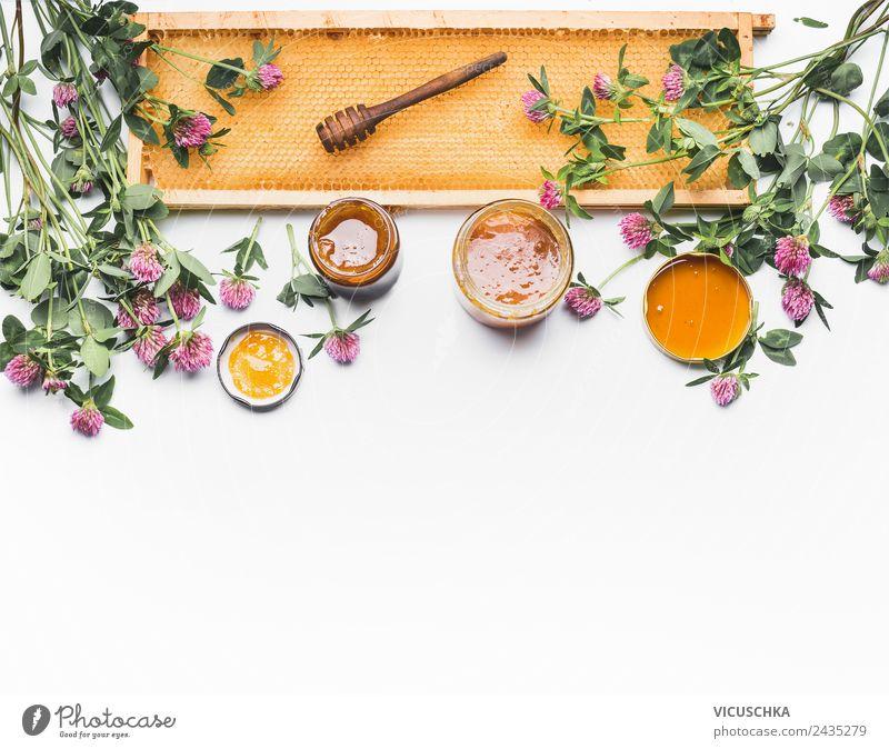 Honig mit Schöpflöffel, Waben und Wildblumen Natur Gesunde Ernährung Foodfotografie Blume Gesundheit Lebensmittel Essen Hintergrundbild gelb Stil Design Glas