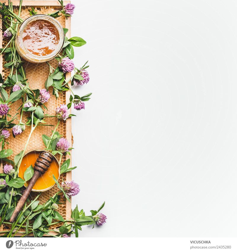 Honig im Glas mit Schöpflöffel, Bienenwaben und wilden Blumen Leben gelb honey jar dipper honeycomb frame white Hintergrundbild Top view healthy food flat lay