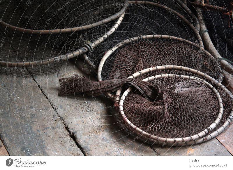 Erinnerungen dänischer Fischer Dachboden Fischereiwirtschaft Fischfang Netz Fischernetz Reuse Fischereibedarf Schifffahrt Netzwerk alt braun ruhig Idylle