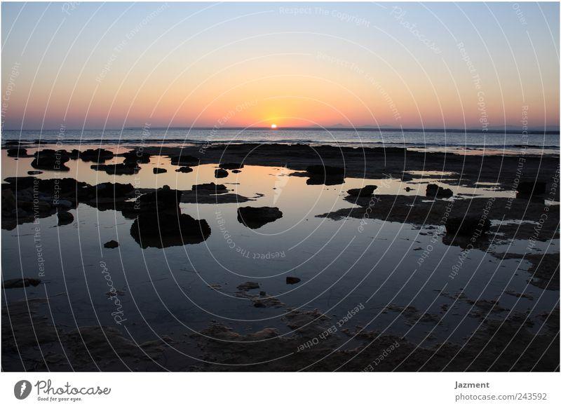 Sonnenuntergang am Es Trenc Wasser Himmel Meer Sommer Ferien & Urlaub & Reisen Glück Landschaft Romantik Fernweh