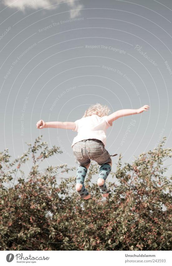 Erntehelfer Mensch Kind Himmel Natur blau Baum Mädchen Sommer Freude Erholung Leben springen Garten Glück Kindheit Freizeit & Hobby