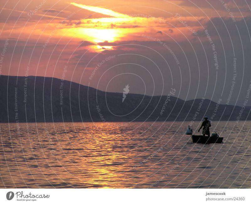 Sonnenuntergang Sonne Meer Stimmung Fischer
