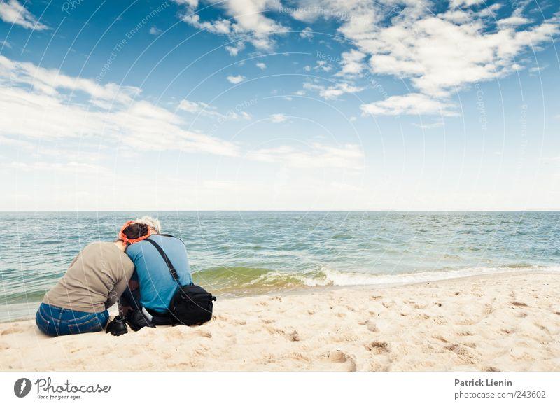 800 - Ich dich auch Mensch Himmel Natur schön Ferien & Urlaub & Reisen Meer Strand Erwachsene Ferne Umwelt Landschaft Freiheit Küste Paar Horizont Wetter
