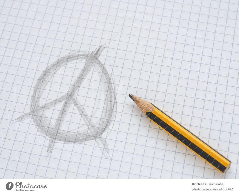 Frieden Freiheit Papier Zeichen Glaube Wunsch Schreibstift kariert friedlich Zettel Bleistift Schreibwaren gezeichnet