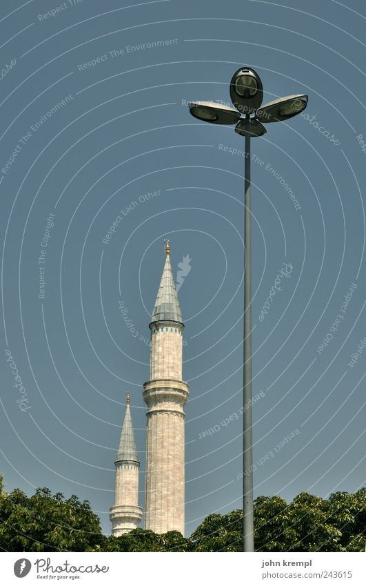 camouflage Istanbul Türkei Hauptstadt Bauwerk Gebäude Architektur Sehenswürdigkeit Wahrzeichen Blaue Moschee Laterne Straßenbeleuchtung dünn hoch Spitze blau
