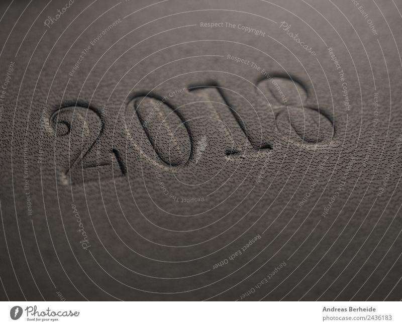 Das Jahr 2018 Stil Weihnachten & Advent Büro Business Fahne planen Termin & Datum Zeit Ziel Zukunft anthracite black diary Nachbildung leather plastic carved
