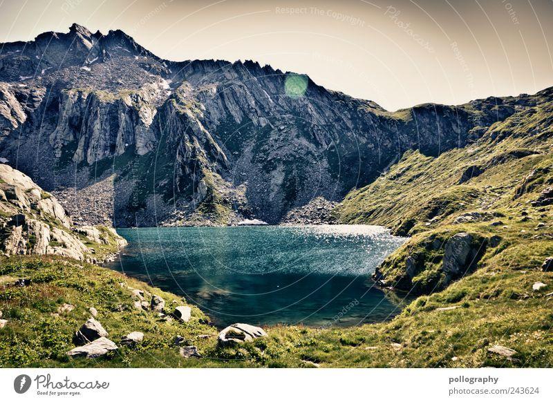 elements Natur Wasser blau grün Sommer Umwelt Berge u. Gebirge Landschaft Gras grau Stein träumen Luft See Erde wandern