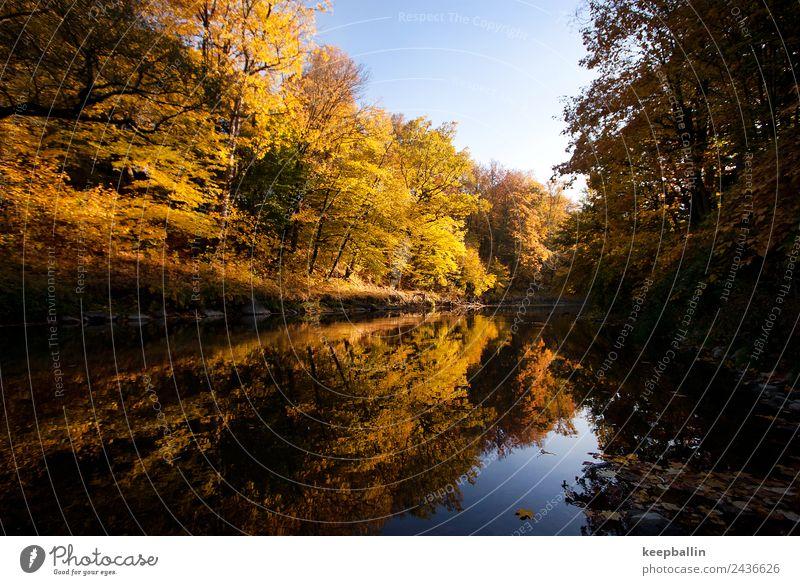 gö_001 Angeln Ferien & Urlaub & Reisen Tourismus Abenteuer Camping Natur Wasser Herbst Wald Flussufer Warmherzigkeit ruhig Sehnsucht Heimweh Freiheit nachhaltig