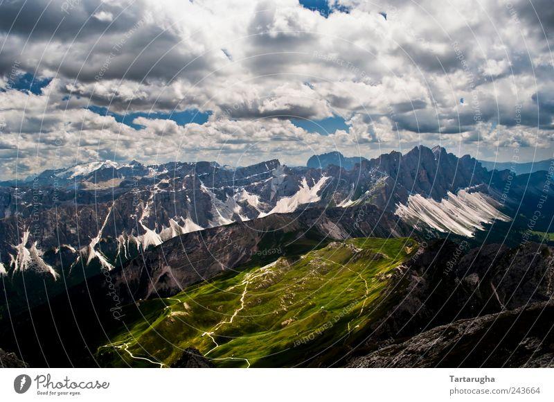 Bright Side - Dolomiten Himmel Natur Ferien & Urlaub & Reisen schön Sommer Landschaft Wolken Ferne Berge u. Gebirge Wiese Stimmung hell Horizont Tourismus