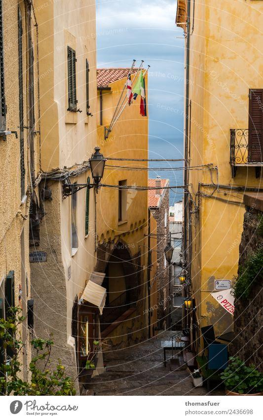 Sardinien, Stadt am Meer, Gasse Ferien & Urlaub & Reisen Ferne Sightseeing Sommer Gastronomie Castelsardo Italien Kleinstadt Hafenstadt Stadtzentrum Altstadt