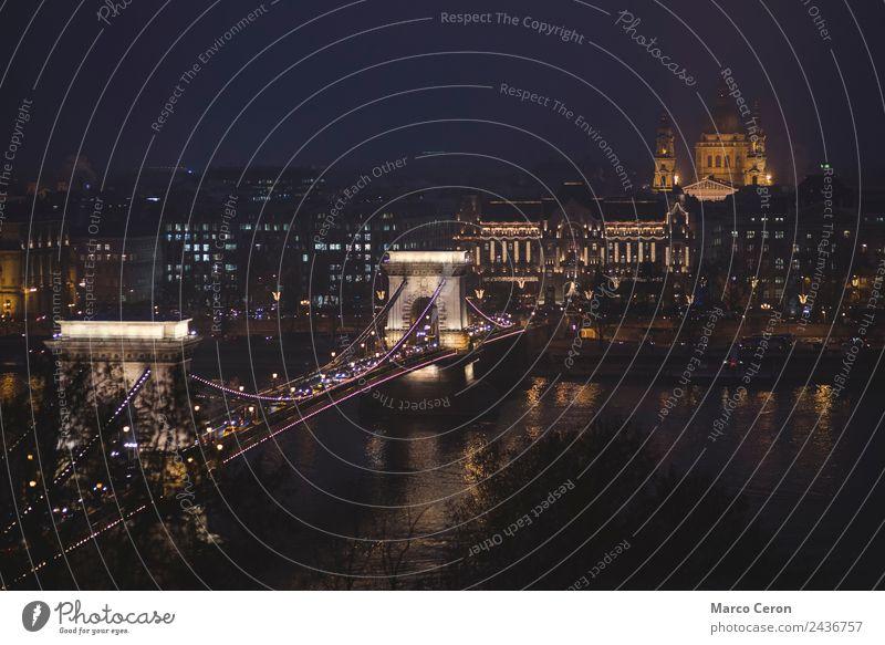 Kettenbrücke und St. Stephen´s Dom bei Nacht Freude Ferien & Urlaub & Reisen Tourismus Ausflug Landschaft Nebel Fluss Stadt Hauptstadt Brücke Gebäude
