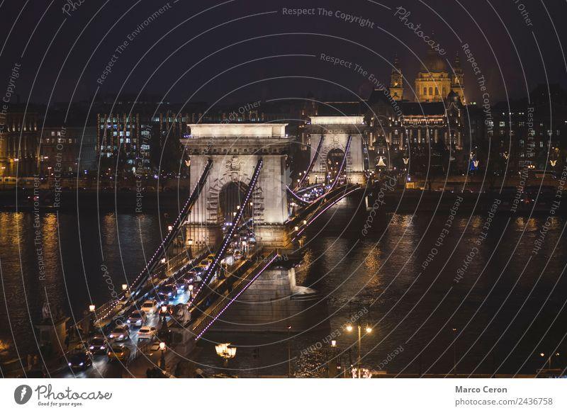 Stephansdom und Kettenbrücke bei Nacht Ferien & Urlaub & Reisen Tourismus Fluss Stadt Hauptstadt Skyline Brücke Gebäude Architektur Sehenswürdigkeit Wahrzeichen