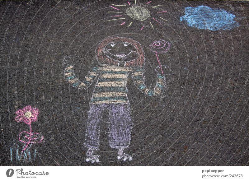 like ice in the sunshine Mädchen 1 Mensch Maler Gemälde Wolken Sonne Pflanze T-Shirt Hose Pullover rothaarig Stein Graffiti mehrfarbig Rollschuhe lutschen