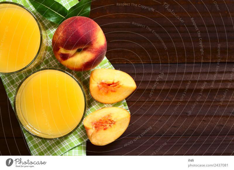 Pfirsichsaft oder Nektar Frucht Getränk Saft frisch Lebensmittel trinken Steinfrucht Erfrischung süß Glas Gesundheit Overhead Top Kopie Raum horizontal reif