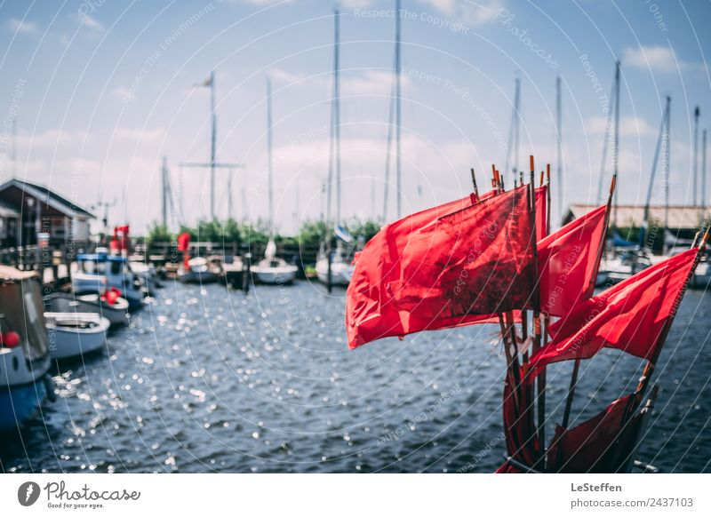 Red Flags Fishing Sommer Sonne Himmel Wolken Sonnenlicht Schönes Wetter Fjord Nordsee Ringkøbing Hafenstadt Menschenleer Fischerboot Jacht Segelboot Segelschiff