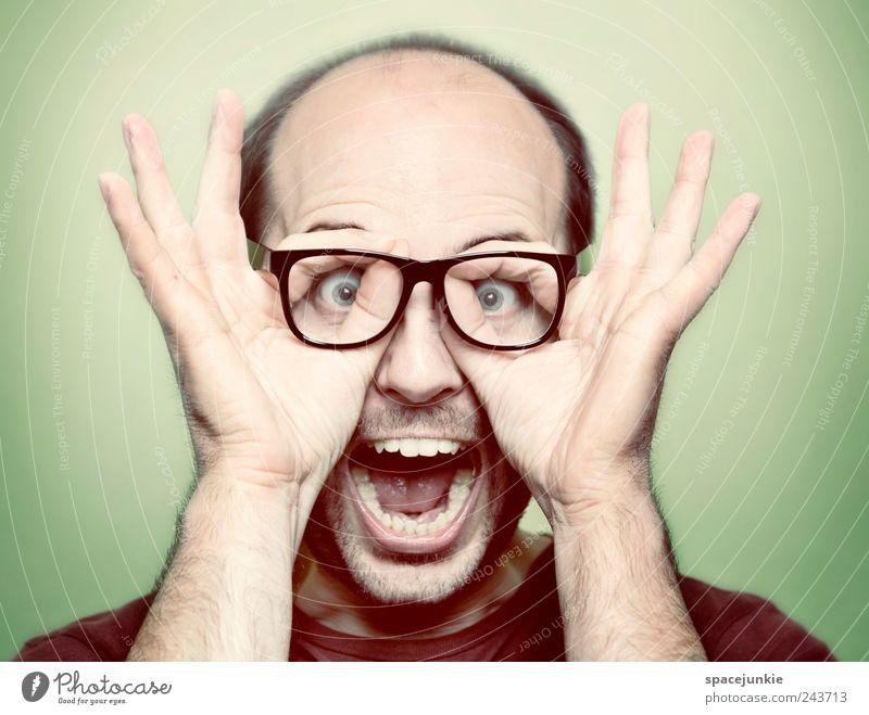Fratzengulasch Mensch Mann Erwachsene Gesicht maskulin verrückt außergewöhnlich Brille Zähne Bart schreien Freak Künstler Entsetzen nerdig 30-45 Jahre