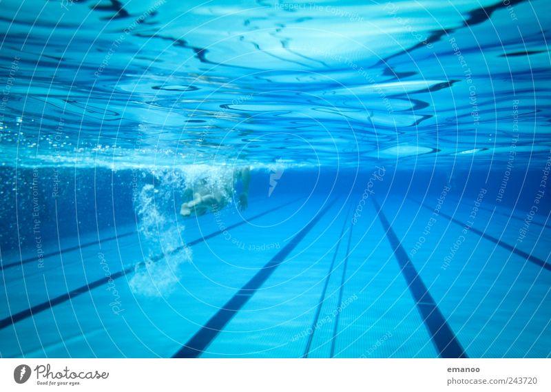 50m Blechwanne Mensch Frau blau Wasser Ferien & Urlaub & Reisen Freude Erwachsene kalt Sport Luft Metall Linie Schwimmen & Baden Schwimmbad lang tauchen