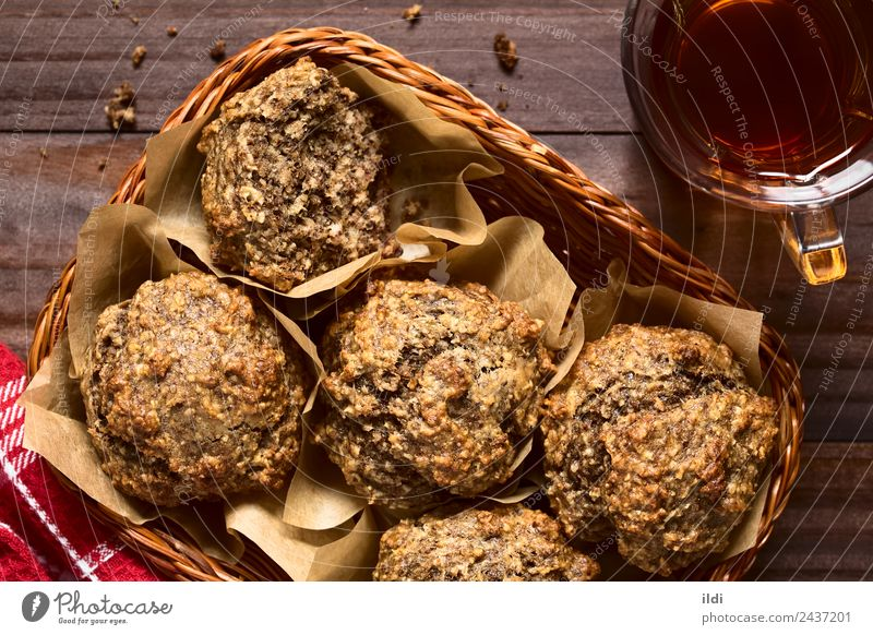 Banane Haferflocken Walnuss Muffin Brot Dessert Süßwaren Frühstück Tee frisch Lebensmittel Walnussholz Nut gebastelt süß Gesundheit Kuchen Cupcake Backwaren