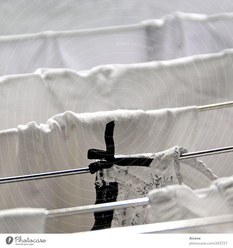Schwarzweißwäsche weiß schwarz Linie Metall nass Bekleidung frisch Sauberkeit rein Häusliches Leben Streifen Stoff trocken hängen Unterwäsche Wäsche waschen
