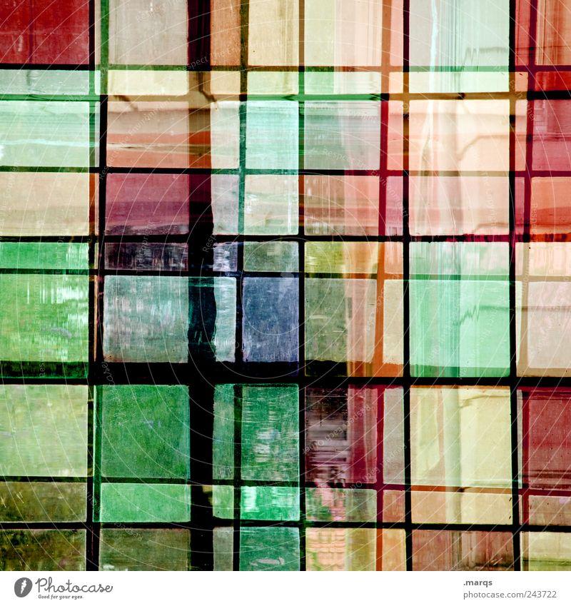 Glas Stil Design Fenster Linie einzigartig verrückt mehrfarbig chaotisch Farbe Mosaik Doppelbelichtung Farbfoto Innenaufnahme Nahaufnahme Experiment abstrakt