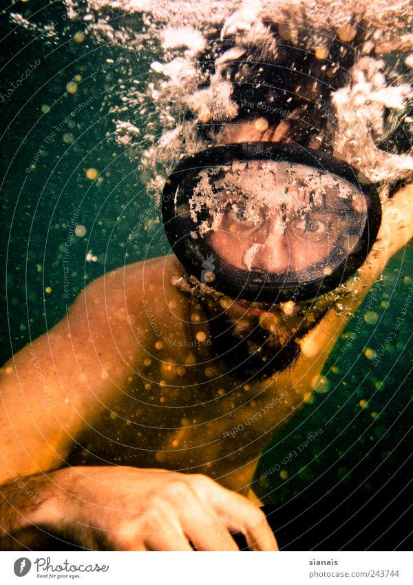 scheibenwischer Mensch Mann Jugendliche Wasser grün Ferien & Urlaub & Reisen Sommer Erwachsene träumen Angst Schwimmen & Baden maskulin gefährlich verrückt