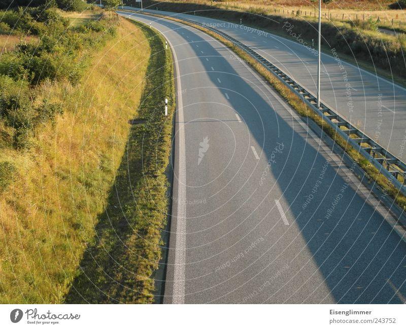 Schattenbahn Verkehrswege Straßenverkehr Fahrbahnmarkierung Straßenbelag Kurve mehrspurig ruhig Freiheit Sicherheit stagnierend planen Symmetrie