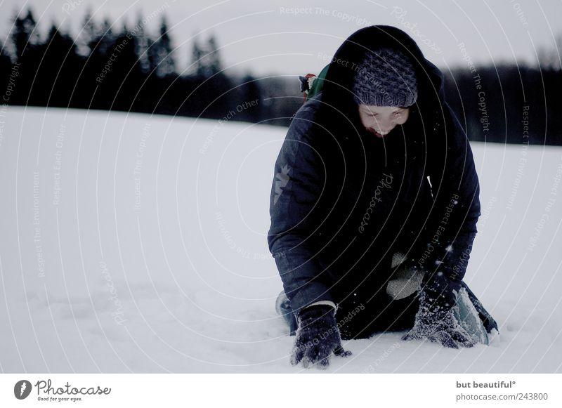 blinder passagier im schnee° Mensch Winter Freude Schnee Glück Zufriedenheit Feld Fröhlichkeit Warmherzigkeit Lebensfreude Geborgenheit Begeisterung Optimismus Tatkraft
