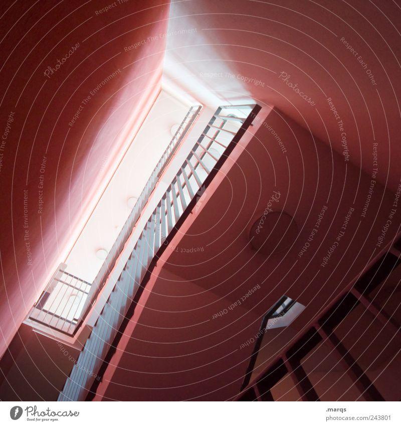 Innenarchitektur Stil Häusliches Leben Treppenhaus Treppengeländer Mauer Wand eckig trendy modern rot Farbe Perspektive Wege & Pfade Farbfoto Innenaufnahme