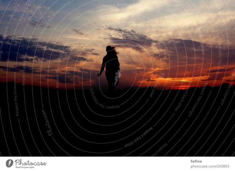 Komm her zu mir Freude Glück Sonnenaufgang Sonnenuntergang Strand Fröhlichkeit Zufriedenheit Lebensfreude Mut Bewegung Farbfoto Außenaufnahme Textfreiraum unten
