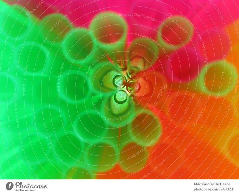 kunterbunt verspieltes miteinander grün gelb Farbe Kunst rosa Kreativität Trinkhalm Inspiration