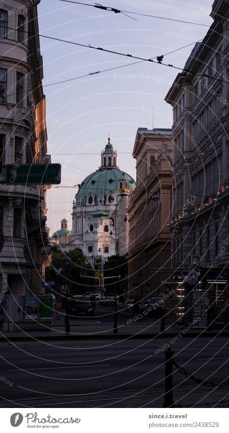Karlskirche Wien im Abendlicht Reichtum Stil Ferien & Urlaub & Reisen Tourismus Ausflug Sightseeing Städtereise Architektur Österreich Europa Hauptstadt