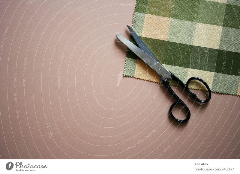 kreative Pause grün schön Mode Arbeit & Erwerbstätigkeit Kreativität Spitze Bekleidung Kitsch Stoff trendy Handwerk Stillleben kariert Textilien geschnitten Schere