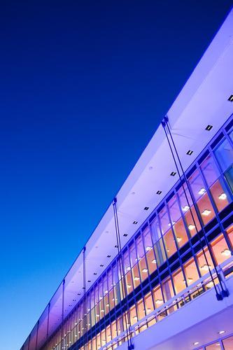 Dresden bei Nacht | UT Dresden Himmel blau Architektur Gebäude Fassade modern violett diagonal Nachthimmel Bürogebäude Glasfassade Nachtstimmung